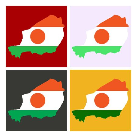 detailed illustration of a map of Niger with flag.