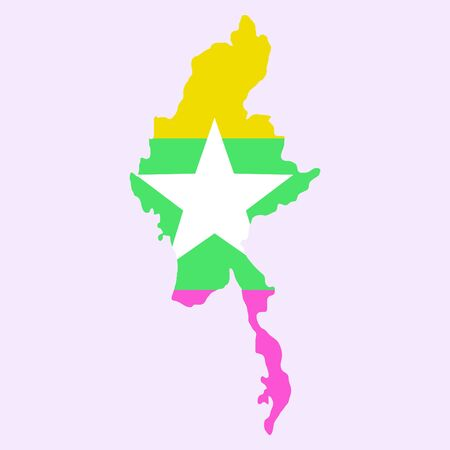 Republic of the Union of Myanmar ( flag and map )  ( transportation and tourism concept )