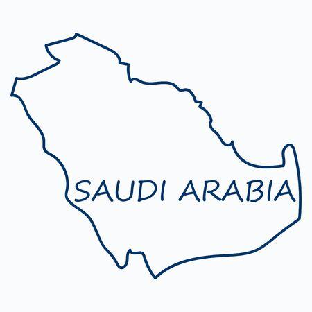 サウジアラビアの地図(旗付き)