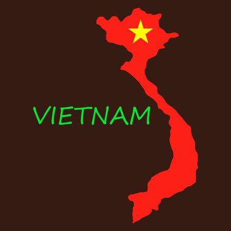 Map Of Vietnam With Flag Isolated On White Background. Illustration