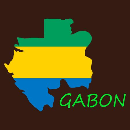 Gabon map and flag in white background
