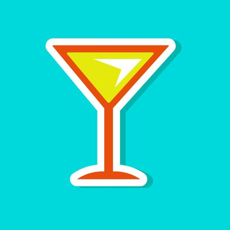 paper sticker on stylish background martini glass Illustration