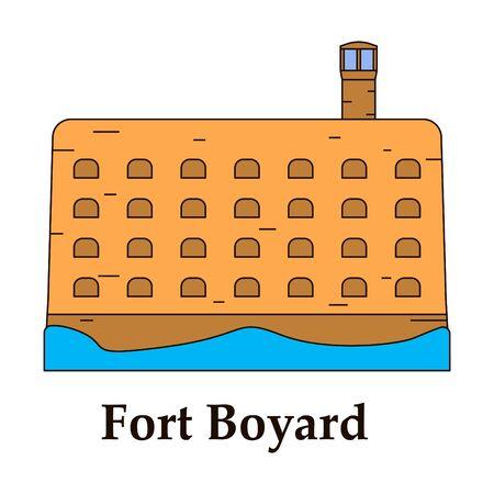 Forteresse méditerranéenne médiévale avec icône de tours. Ancien fort historique isolé sur fond de couleur. Fort Boyard