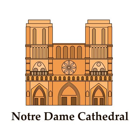 Travel vector banner or logo. The famous Cathedral of Notre Dame de Paris, France. French landmark. The Catholic Church in the center of Paris, a masterpiece of Gothic architecture