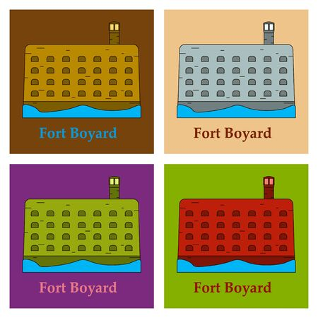Medieval mediterranean fortress with towers icon. Ancient historical fort isolated on color background. Fort boyard