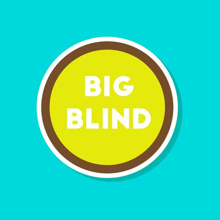 paper sticker on stylish background poker big blind