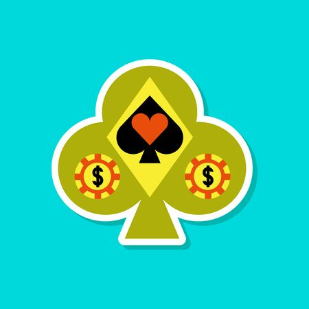 paper sticker on stylish background poker
