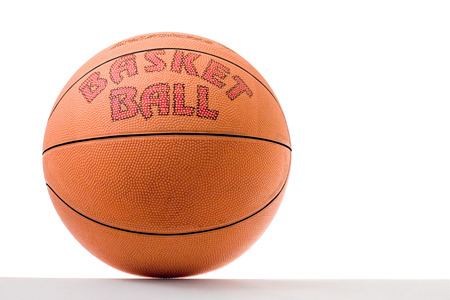 Orange basketball ball on a white background