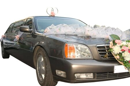 The decorated wedding limousine on a white background Stock Photo - 1746967