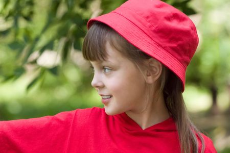 The girl in a red hat with blue eyes
