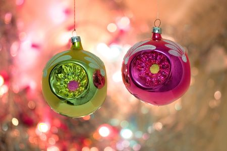 Christmas-tree decorations on a background of celebratory fires Stock Photo - 2136264