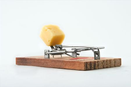 Alert mousetrap on a white background Stock Photo - 2626313