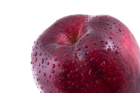 Red apple in drops of water on a white background Stock Photo - 2840128