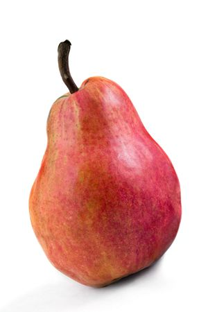 Ripe red pear on a white background