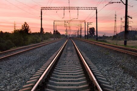 cross ties: The railway in the early morning on sunrise Stock Photo