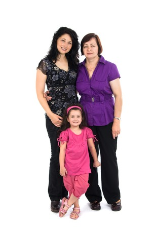 grand daughter: The grandmother, mum and the grand daughter it is isolated on a white background Stock Photo