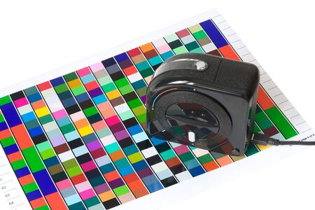 collate: Colour Management - Spectrophotometer and color chart  Stock Photo