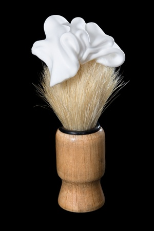 Brush for shaving - it is isolated on a black background  Stock Photo