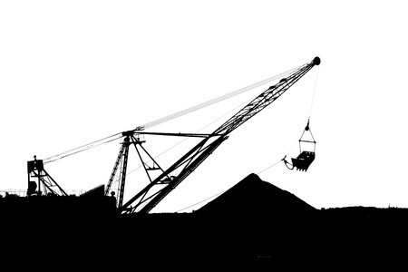 Silhouette a career dredge on a white background