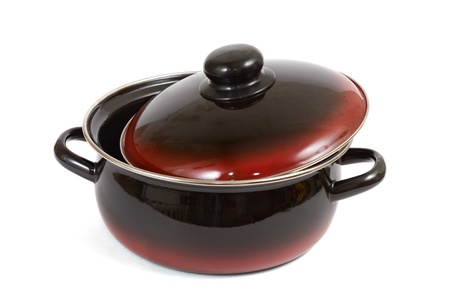 enameled: The enameled saucepan it is isolated on a white background