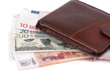 roubles: Purse and money - dollars, euro and roubles Stock Photo