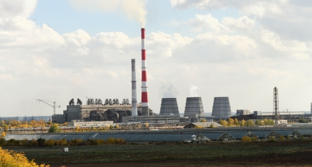 Thermal power plant in the city of Barnaul, Russia photo