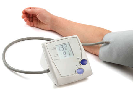 Measurement of a blood pressure with the help of an automatic tonometer photo