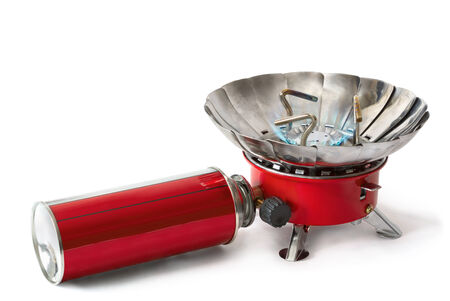 portable gas stove it is isolated on a white background Stock Photo - 26975524