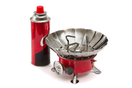 portable gas stove it is isolated on a white background Stock Photo - 26975880