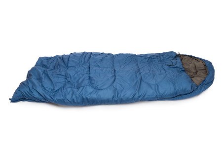 Blue sleeping bag it is isolated on a white background Stock Photo