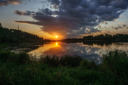 Sunset on the Tom River in Western Siberia Stock Photo