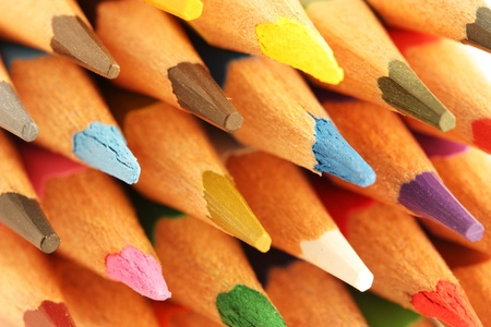 Closeup of tip of colourful pencils