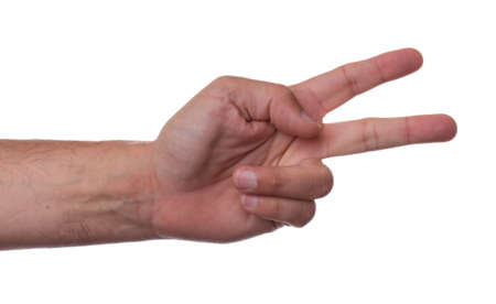 Hand counting two on white background Stock Photo