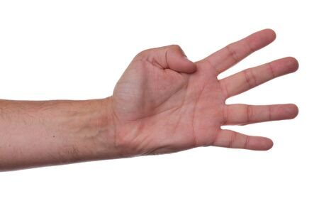 Hand counting four on white background