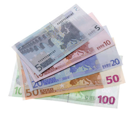 Euro notes five to hundred on white background