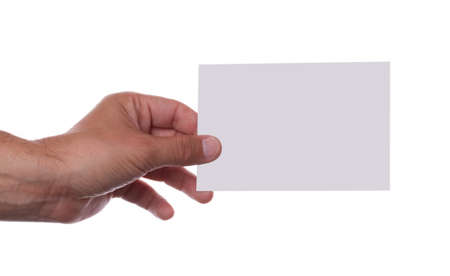 Hand holding empty card for adding text on white background Stock Photo - 9779043