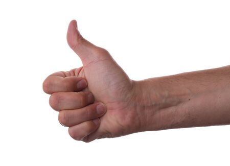 Hand showing thumbs up on white background