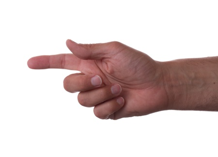 Pointing finger left on a white background photo