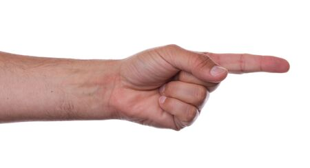 dictatorial: Pointing finger right on a white background Stock Photo