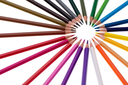 circle of colourful pencils.