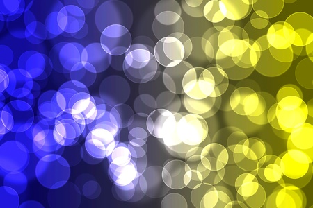 Artistic abstract blue and yellow bokeh pattern Stock Photo