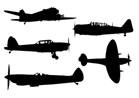 fighter pilot: Collection of old WWII airplane silhouettes Stock Photo