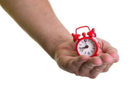 Man holding the time in the hand Stock Photo - 17626773