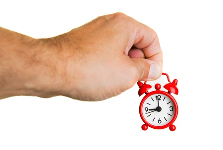 Hand holding red alarm watch Stock Photo - 17626772