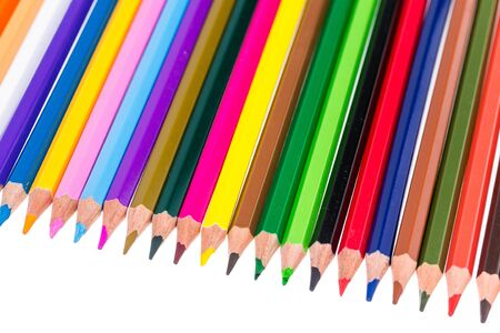 Colorful pencils on a white background