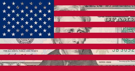 20 dollar bank note as US flag