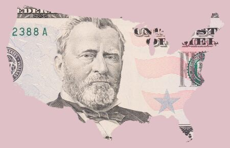 50 dollar note as US map