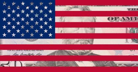 50 dollar bank note as US flag