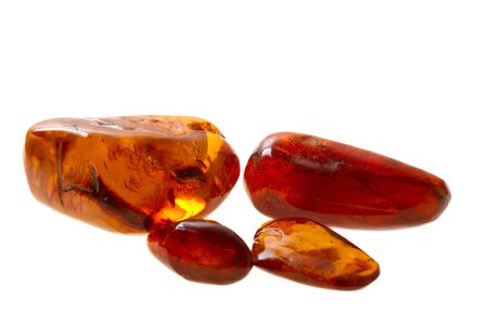 Four pieces of red amber