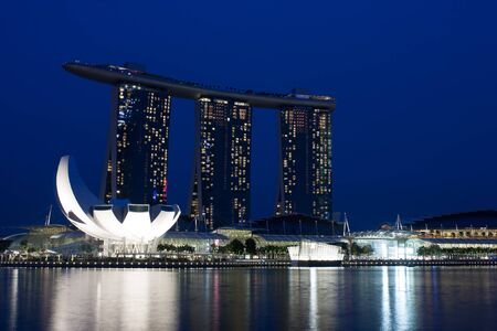 Beautiful evening view from the Marina Bay in Singapore